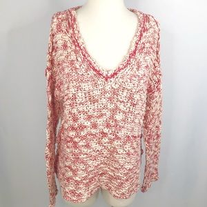Free People Marled V-neck Chunky Knit Sweater